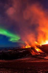 Iceland Volcano Aurora Borealis