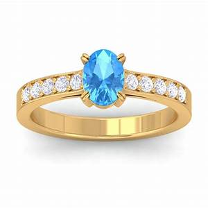 blue topaz ij si diamonds womens gemstone engagement ring With blue diamond wedding rings for women