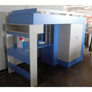 libellule bunk bed desk combination blue