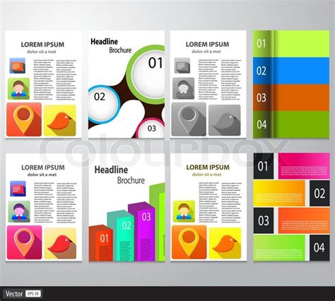 Colorful Infographic Presentation Template Brochure Flyer Set Of Flyer Brochure Design Template Vector Abstract