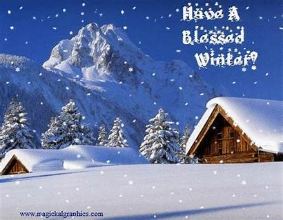 Winter Snowfall Animated Graphics Blessed Cards Happy