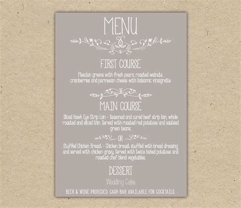free wedding menu templates wedding menu dinner custom wedding reception by bejoyfulpaper