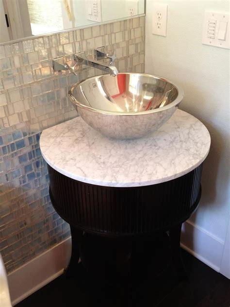 pedestal sink with built in backsplash 132 best images about single sink vanities on pinterest