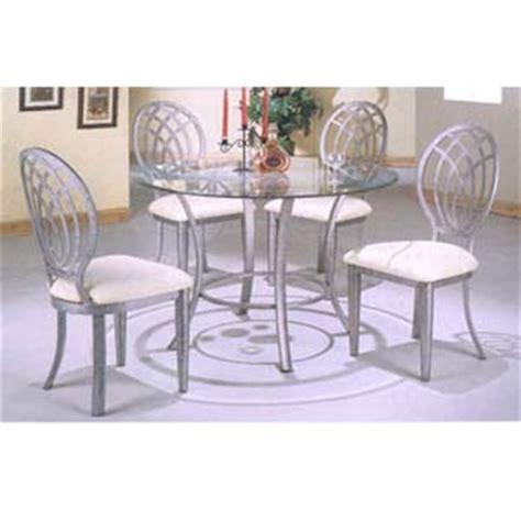 glass top dining set 5 pc antique silver gray dining set