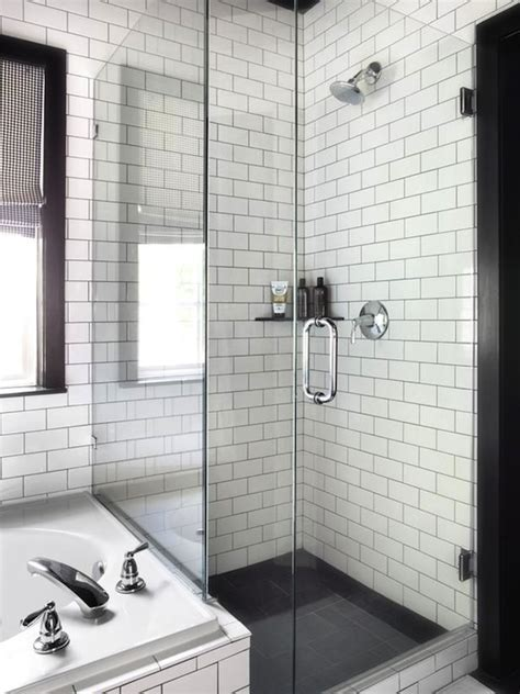 white subway tile bathroom ideas white subway tile with grout charcoal floors