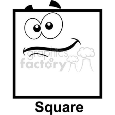 royalty  geometry square cartoon face clip art