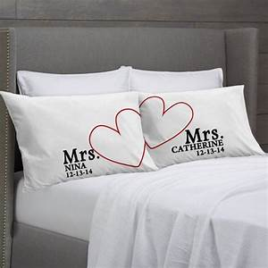 Mrs and mrs personalized pillowcases lesbian couple gift for Lesbian wedding gift ideas