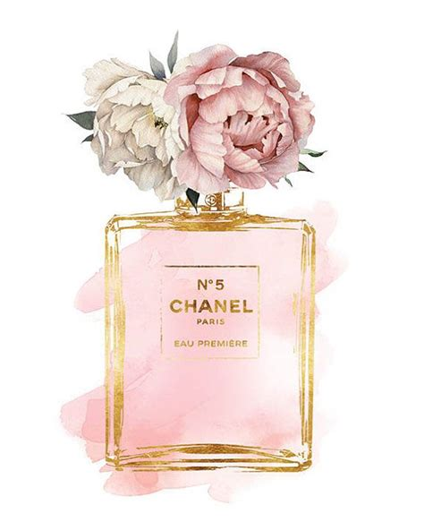 chanel no5 art 8x10 pink peony watercolor watercolour gold effectprinted coco mode