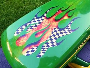 Flame Decals Sunken Torched Checkered Flag For Deere  U0026 All