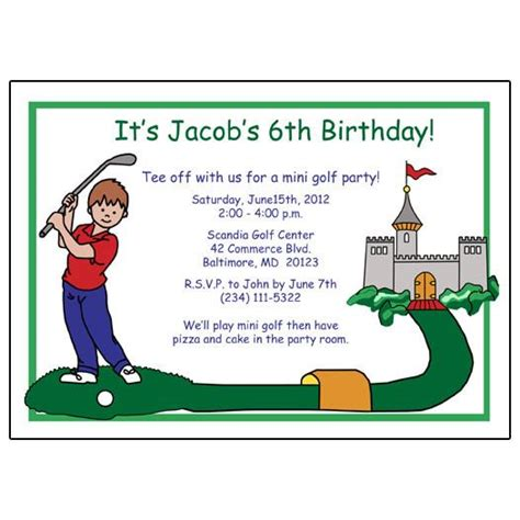 mini golf birthday party invitation boy mandys moon