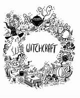 Witch Coloring Wicca Witchcraft Shadows Wiccan Aesthetic Borders Ness Witchy Doodles Pagan Notebook Gypsy Spells Hedge Colouring Halloween Dividers Coven sketch template