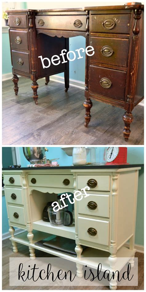 kitchen island made from dresser diy kitchen island from a desk create and babble 9411