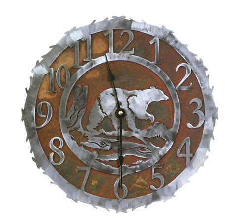 Bear Metal Art Clock   12 Inch