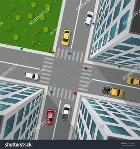 City Street Top View 3d Design Concept With Crossroad Cars ...