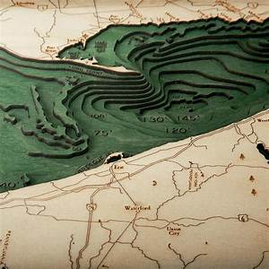Lake Erie Wood Map | 3D Nautical Topographic Chart ...