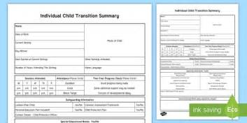 Eyfs Individual Child Summary Transition Sheet Changing