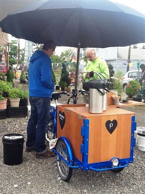 bike powered coffee cart pour pour coffee adds perk
