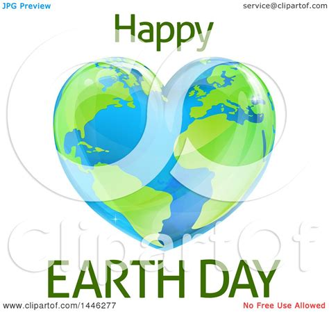 clipart   heart shaped planet  happy earth day text
