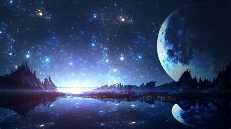 wallpaper fantasy landscape moon reflection river