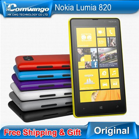 original unlocked nokia lumia 820 refurbished 8mp white blue yellow black free gift