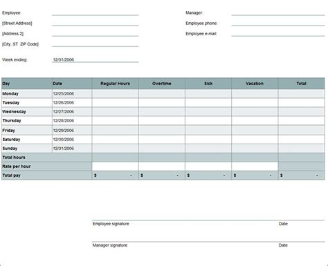sample timesheet templates   excel