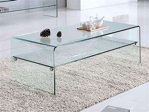Table Basse Verre Trempé : table basse stileos double plateau verre tremp courb ~ Teatrodelosmanantiales.com Idées de Décoration