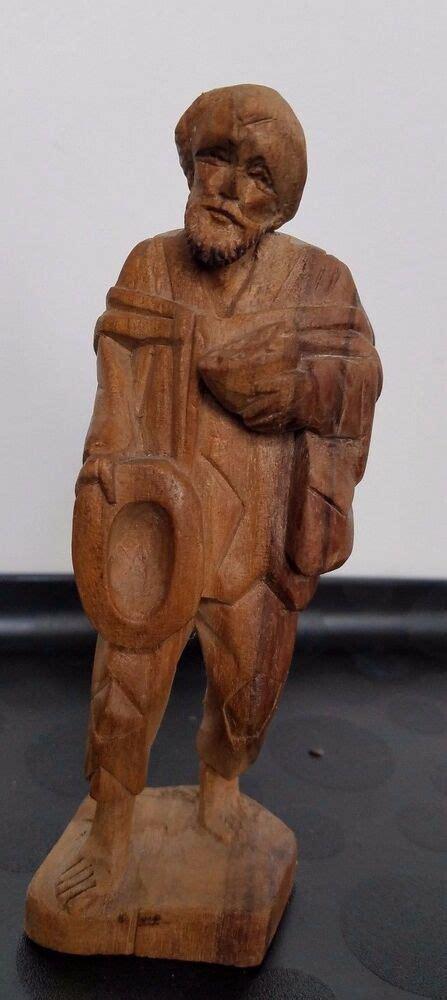 man wood figurine hand carved figure folk art statue