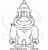 Abominable Yeti Snowman Clipart Cartoon Drawing Scarf Monkey Winter Wearing Outline Happy Thoman Cory Illustration Getdrawings Vector Royalty Hat Lineart sketch template