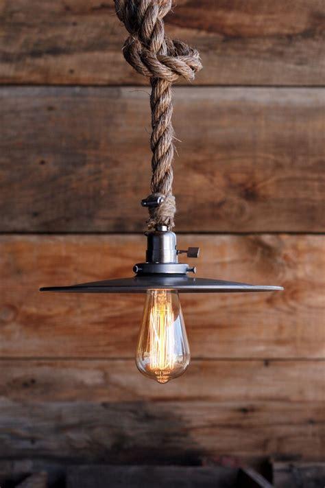 bunker pendant metal hanging rope pendant light
