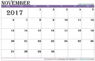2017 November Calendar Editable