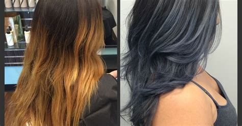 Slate Grey Bayalaged Ombré Hair Transformation By @rokcia