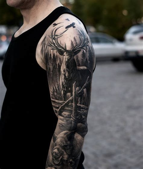 Realistic Deer The Woods Sleeve Tattoo Venice