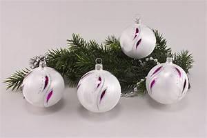 Weihnachtskugeln Glas Lauscha : 4 kugeln 6cm eiswei magenta kleine feder onlineshop f r ~ A.2002-acura-tl-radio.info Haus und Dekorationen