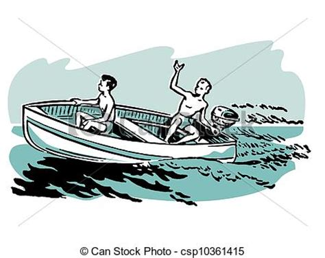 Boat Ride Drawing by Clipart Of Two Boys Enjoying A Boat Ride Csp10361415