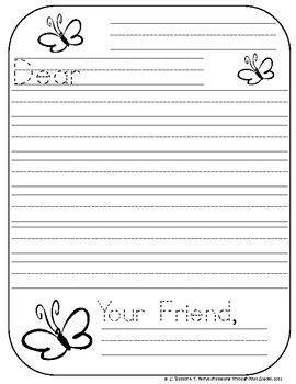 friendly letter writing paper  kindergarten