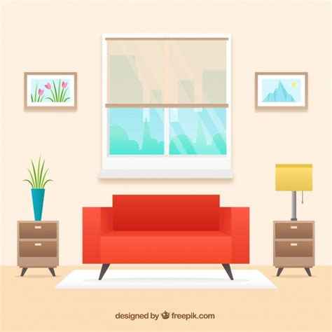 home interior vector living room interior with red sofa in flat design vector free download