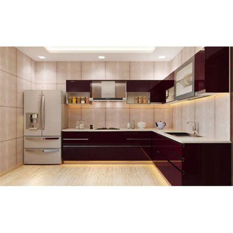 modern brown acrylic modular kitchen cabinet rs