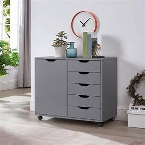 Amy, 5-drawer, Office, Storage, Cabinet, With, Shelves, By, Naomi, Home-color, Gray