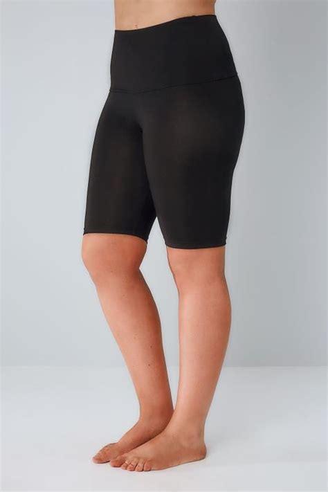 black tummy control soft touch legging shorts  size