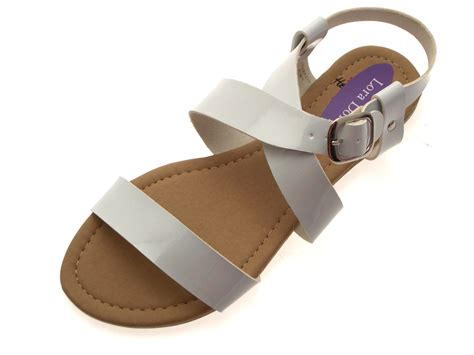 Womens Patent Flat Strappy Sandals Ladies Summer Buckle