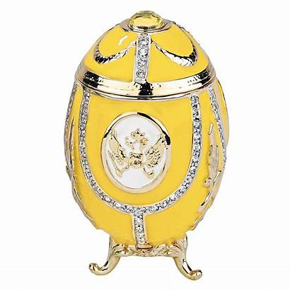 Faberge Eggs Imperial Eagle Russian Yellow Enameled