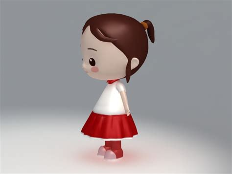 Little Girl Cartoon Character 3d Model 3ds Max,object