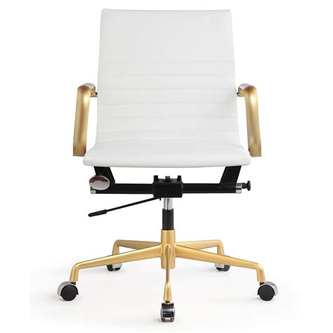 meelano m348 office chair in gold and white vegan leather