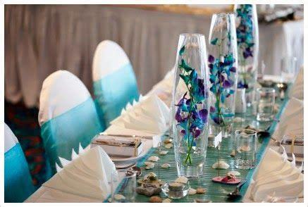 centros de mesa color turquesa parte  centros de mesa