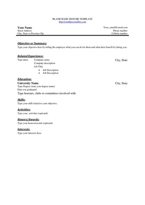basic blank resume template  basic sample