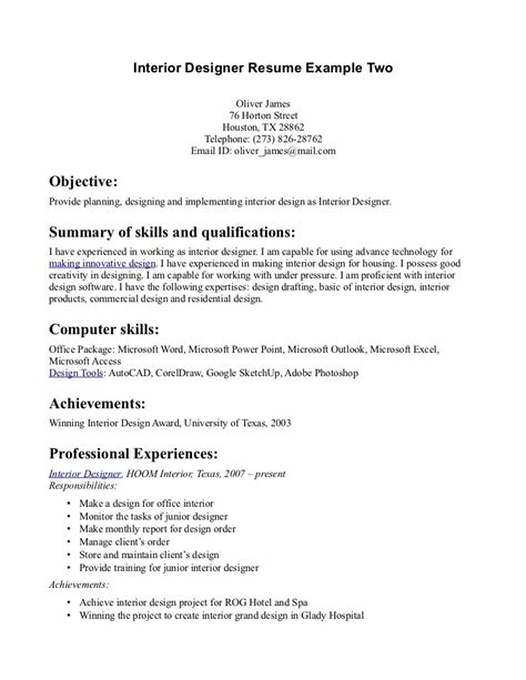 professional interior design resume exles