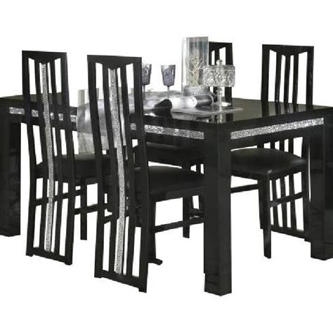 ensemble table 224 manger 190cm 4 chaises design noir achat vente table a manger complet