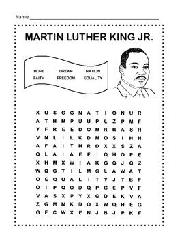 martin luther king jr worksheets word search martin luther king jr word search puzzle 1st grade by