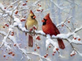 Winter Cardinal Bird Painting