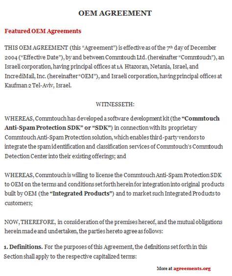 oem agreement sample oem agreement template